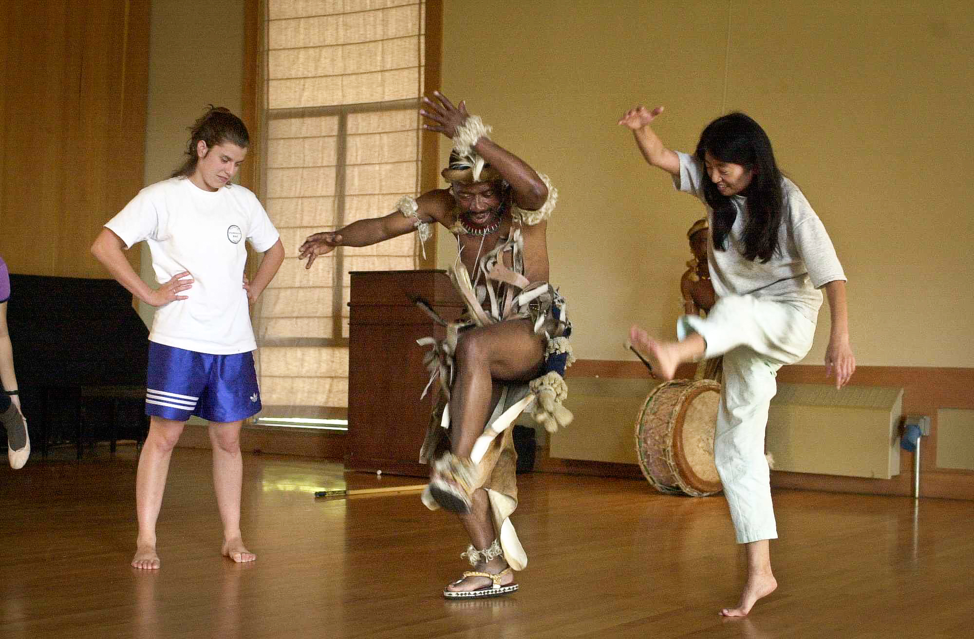 Dancers from Umzansi Zulu held workshops and demonstrations in November 2001 at Stanford.
