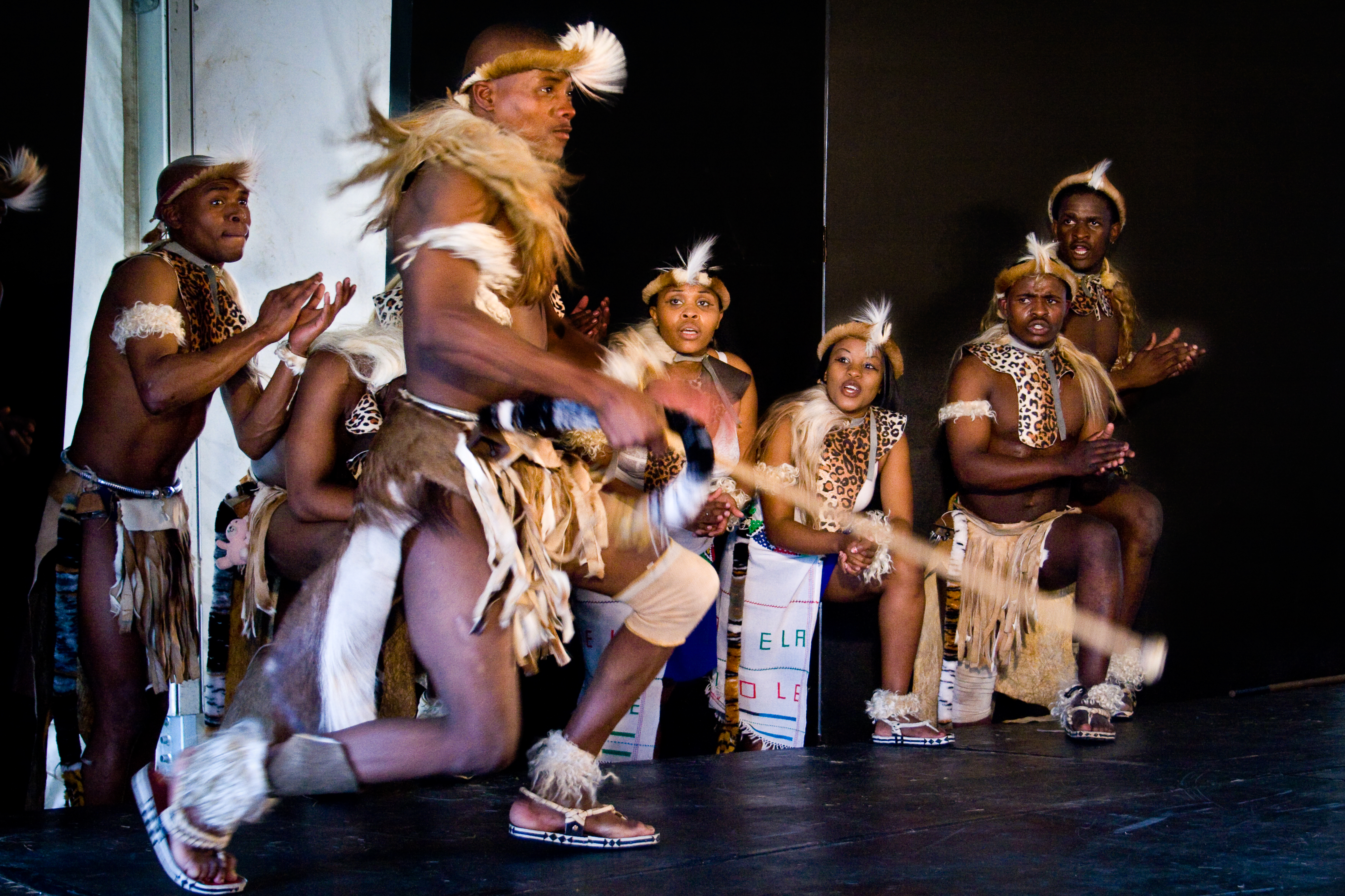 Mzansi Zulu dancers perform a lively and beautiful African dance for the Grahamstown festival, 6 July 2009. (Cuepix/Thyla Nel)